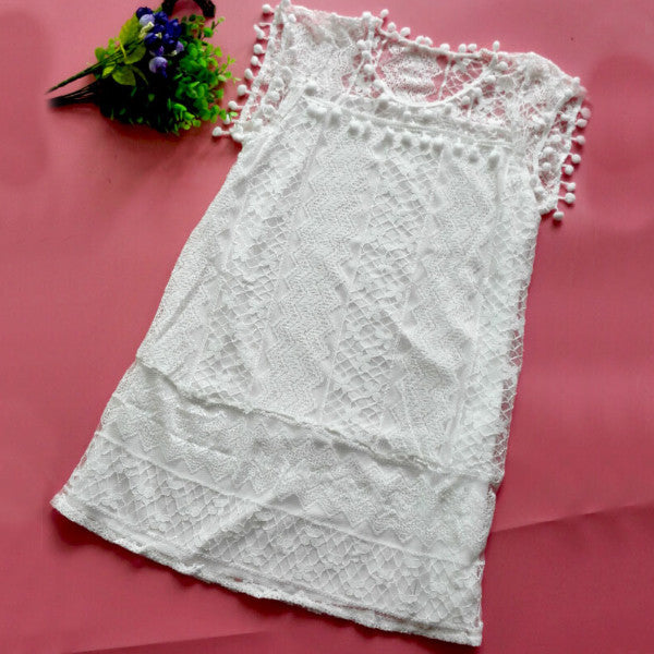White Regular Lacy Mini Soid Summer Dress
