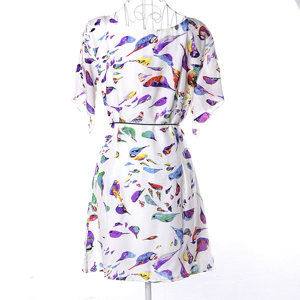 Smooth Birds Pattern Thin Summer Casual Dress