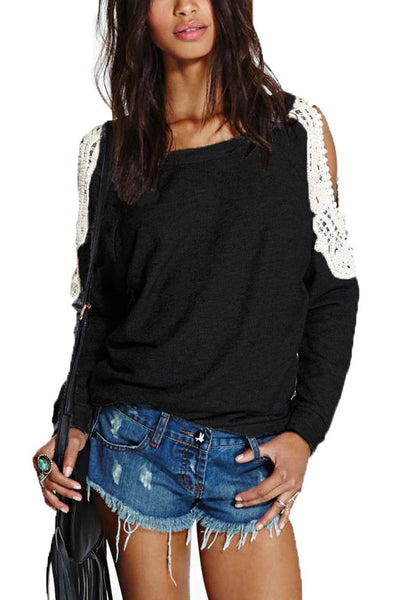 Show It Off Stylish Splice Off Shoulder Top