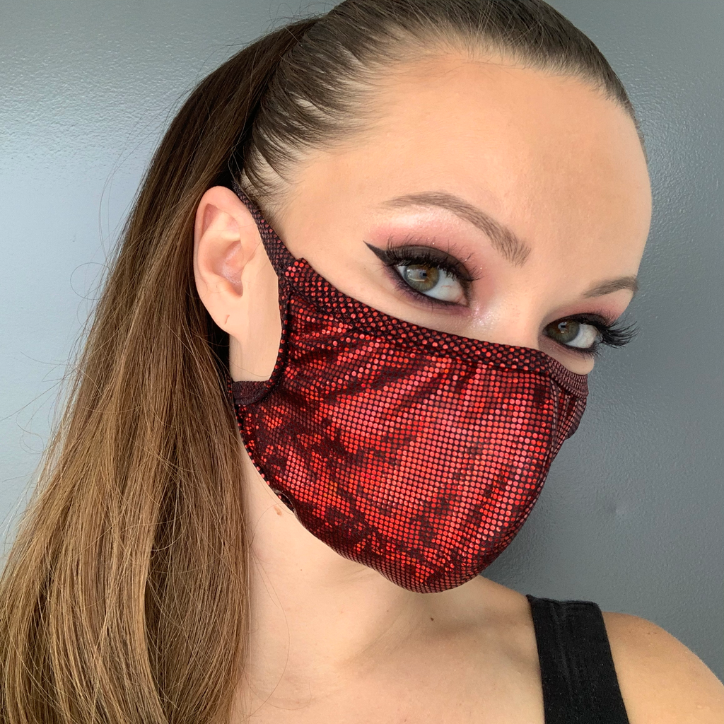 Red Shimmer Face Mask - Roma M111-Face Masks-Roma-One Size-Red-Unspoken Fashion