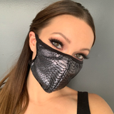 Snake Print Face Mask - Roma M114-Face Masks-Roma-One Size-Black Snake-Unspoken Fashion