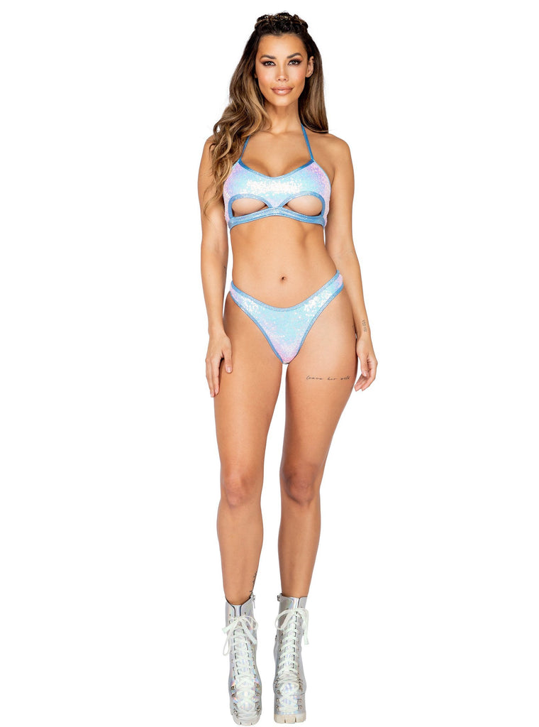 Roma Rave 3804 - 1pc Sequin Haltered Cutout Top-Rave Tops-Roma-Small-Baby Blue-Unspoken Fashion