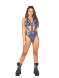 Roma Rave 3819 - 1pc Iridescent Strappy Romper-Rave Bodysuits-Roma-Small-Blue Multi-Unspoken Fashion