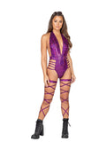 Roma Rave 3830 - 1pc Low Plunge Iridescent Shimmer Romper with Strap Detail-Rave Bodysuits-Roma-Small-Purple-Unspoken Fashion