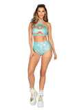 Roma Rave 3841 - 1pc High-Waisted Shorts-Rave Shorts-Roma-Small-Light Green-Unspoken Fashion