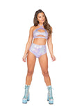 Roma Rave 3841 - 1pc High-Waisted Shorts-Rave Shorts-Roma-Small-Lavender-Unspoken Fashion