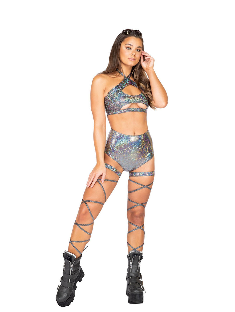 Roma Rave 3841 - 1pc High-Waisted Shorts-Rave Shorts-Roma-Small-Silver-Unspoken Fashion