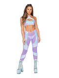 Roma Rave 3803 - 1pc Low Rise Sheer Pants with Sequin Chaps Detail-Rave Bottoms-Roma-Small-Lavender-Unspoken Fashion