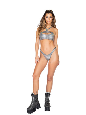 Roma Rave 3854 - Snakeskin Keyhole Crop Top-Rave Tops-Roma-Small-Silver-Unspoken Fashion