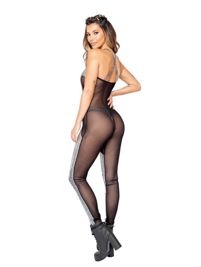 Roma Rave 3860 - 1pc Two-Tone Sheer & Snakeskin Catsuit-Rave Bodysuits-Roma-Unspoken Fashion