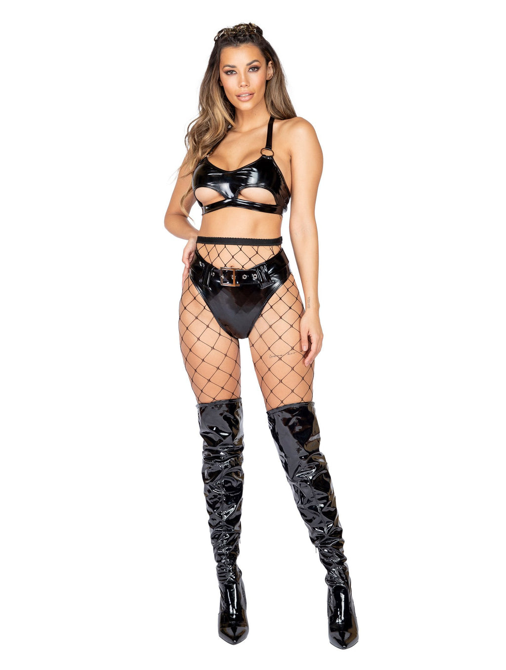 Roma Rave 3886 - 2pc Latex High-Waisted Shorts with Belt-Rave Shorts-Roma-Small-Black-Unspoken Fashion