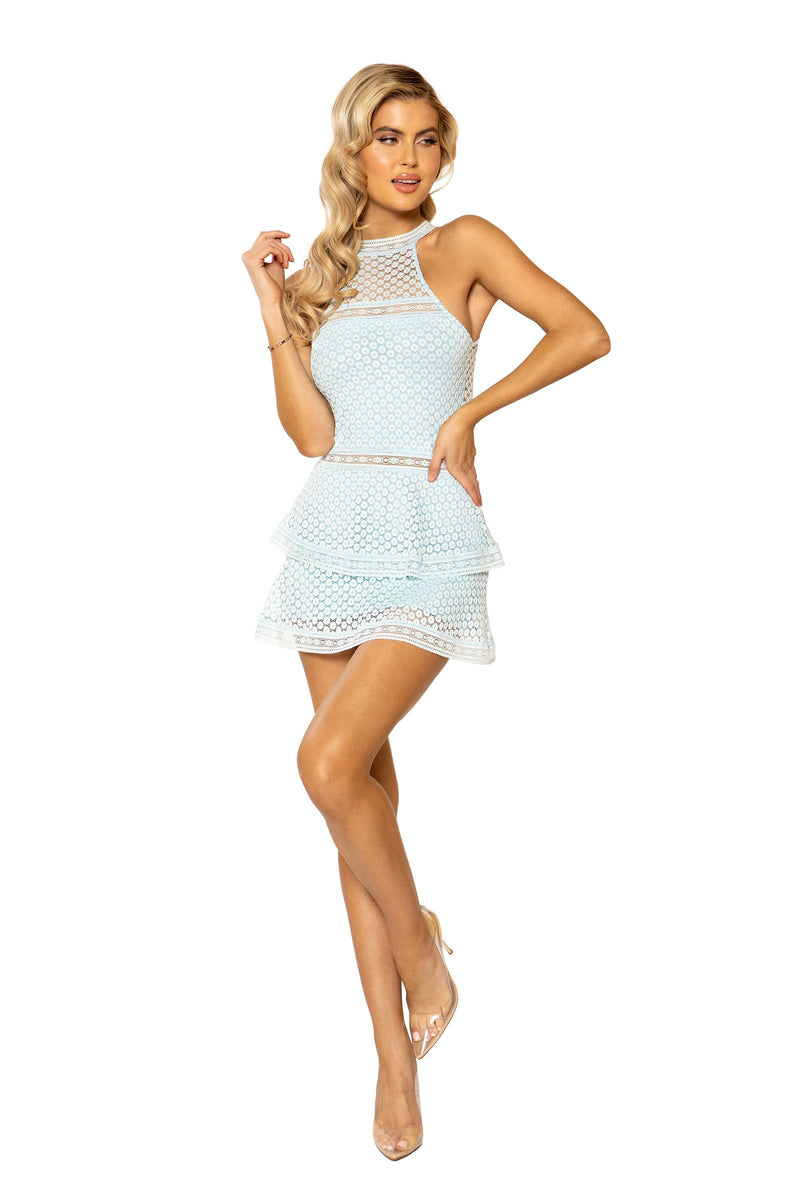 Roma 3938 - Lace Panel Tiered Bodycon Dress-Mini and Maxi Dresses-Roma-Small-Baby Blue-Unspoken Fashion