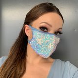 Baby Blue Sequin Face Mask - Roma M112