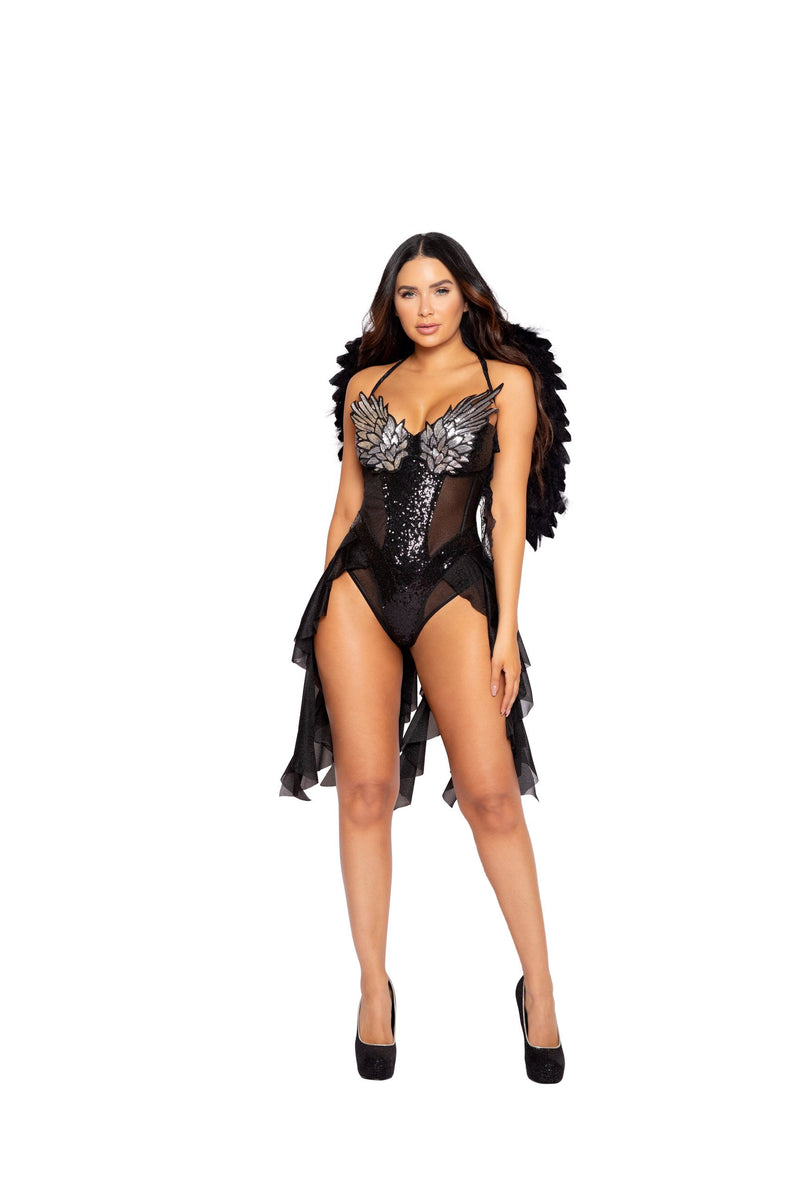 Roma 4965 - 1pc Dark Angel Diva Costume-Costumes-Roma-Small-Black-Unspoken Fashion