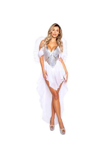 Roma 4967 - 1pc Angel Goddess Costume-Costumes-Roma-Small-White/Silver-Unspoken Fashion