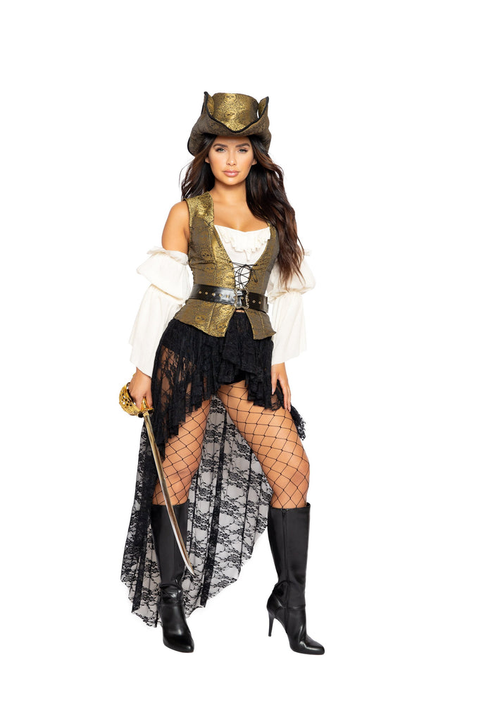Roma 4980 - 6pc Pirate Queen Costume Costume-Costumes-Roma-Small-Gold/Black/Beige-Unspoken Fashion