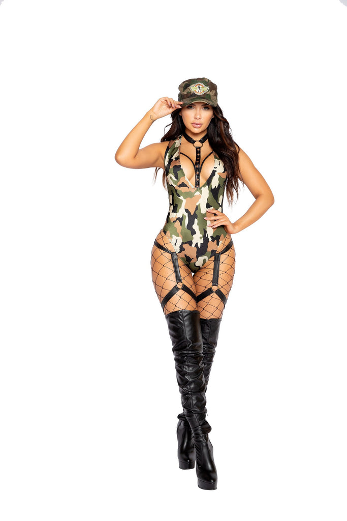 Roma 4986 - 1pc Army Hottie Costume-Costumes-Roma-Small-Camouflage/Black-Unspoken Fashion