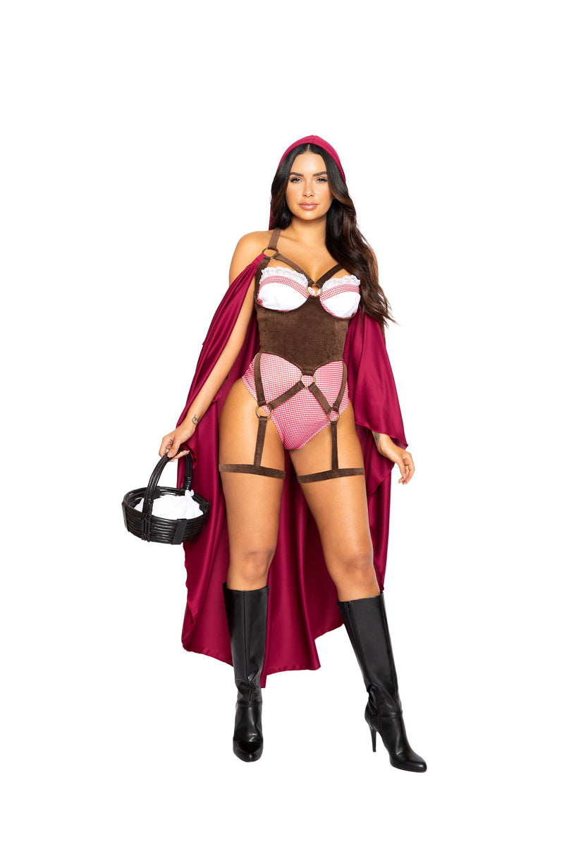 Roma 4994 - 2pc Red Riding Hood Costume-Costumes-Roma-Small-Burgundy/Brown-Unspoken Fashion