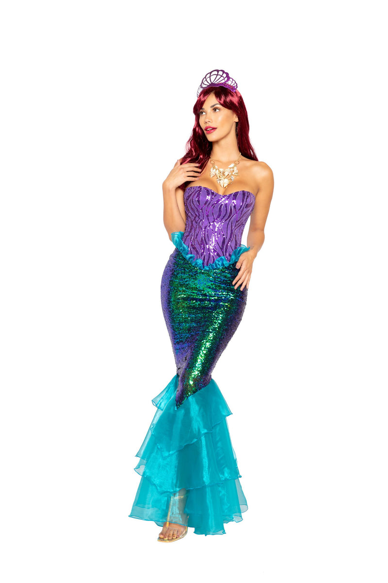 Roma 4995 - 3pc Majestic Mermaid Costume-Costumes-Roma-Small-Purple/Aqua-Unspoken Fashion