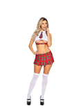 Roma 5009 - 2pc Naughty School Girl Costume-Costumes-Roma-S/M-White/Red-Unspoken Fashion