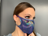 Blue Multi Face Mask - Roma M113-Face Masks-Roma-One Size-Blue Multi-Unspoken Fashion