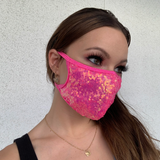 Hot Pink Sequin Face Mask - Roma M112