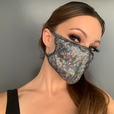 Silver Shimmer Face Mask - Roma M111-Face Masks-Roma-One Size-Silver-Unspoken Fashion
