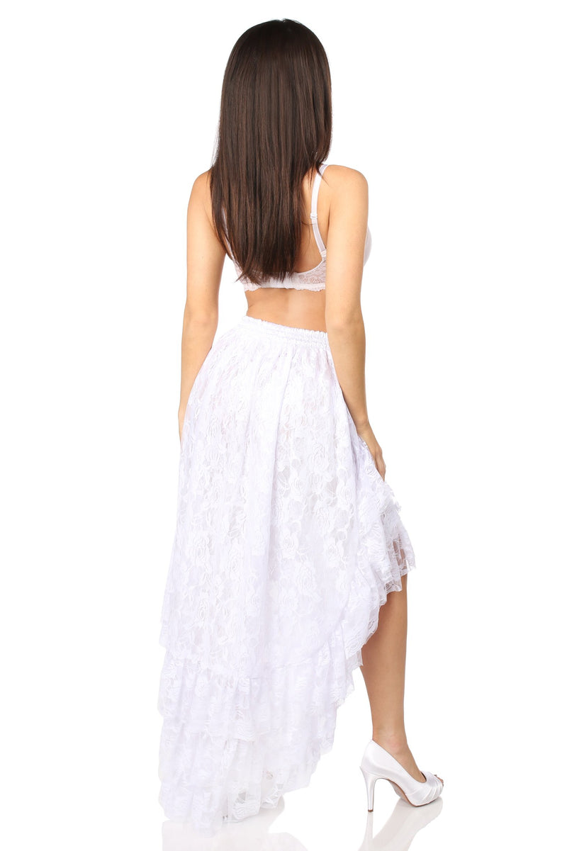 White High Low Lace Skirt-Accessories-Daisy Corsets-Unspoken Fashion