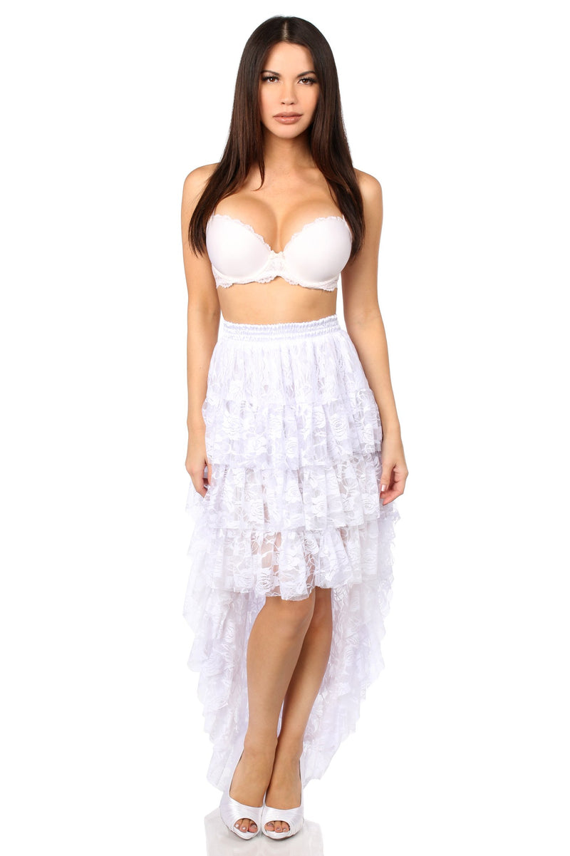 White High Low Lace Skirt-Accessories-Daisy Corsets-Queen-Unspoken Fashion