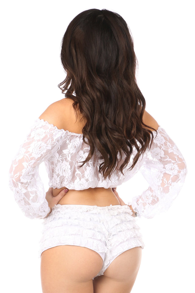 Plus Size White Sheer Lace Long Sleeve Peasant Top-Accessories-Daisy Corsets-Unspoken Fashion