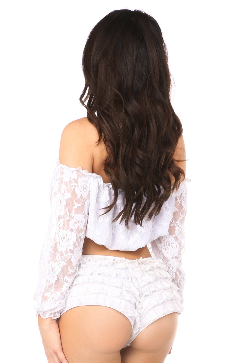 White Lined Lace Long Sleeve Peasant Top-Accessories-Daisy Corsets-Unspoken Fashion