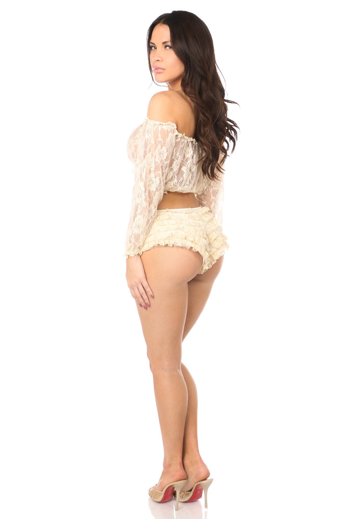 Cream Sheer Lace Long Sleeve Peasant Top-Accessories-Daisy Corsets-Unspoken Fashion