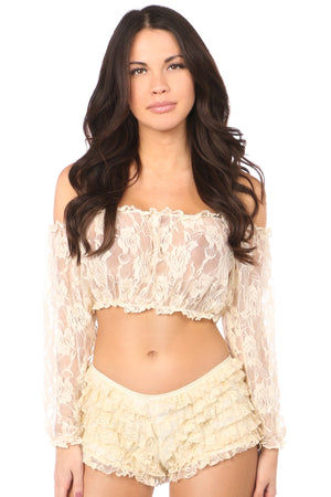 Cream Sheer Lace Long Sleeve Peasant Top-Accessories-Daisy Corsets-Regular-Unspoken Fashion