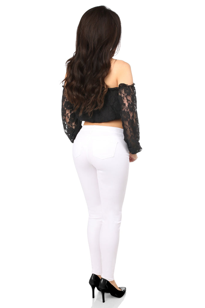 Plus Size Black Lined Lace Long Sleeve Peasant Top-Accessories-Daisy Corsets-Unspoken Fashion