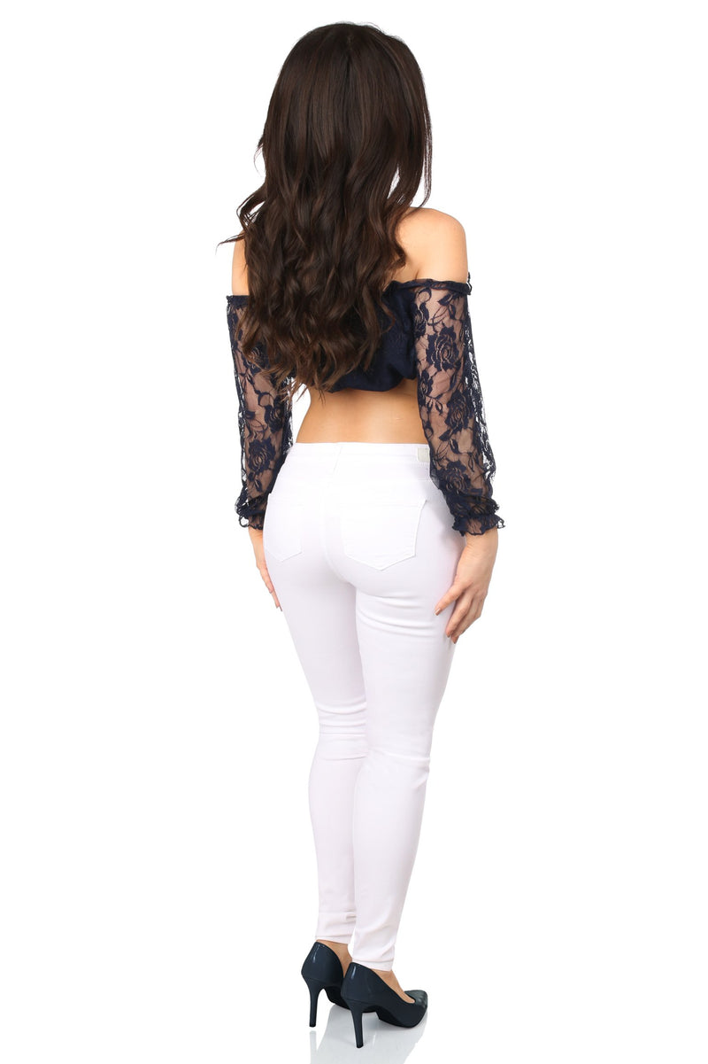Navy Blue Lined Lace Long Sleeve Peasant Top-Accessories-Daisy Corsets-Unspoken Fashion