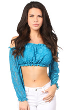 Load image into Gallery viewer, Teal Lined Lace Long Sleeve Peasant Top-Accessories-Daisy Corsets-Regular-Unspoken Fashion