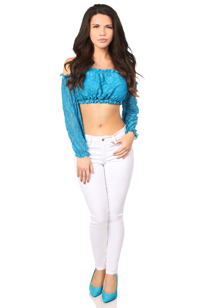Teal Lined Lace Long Sleeve Peasant Top-Accessories-Daisy Corsets-Unspoken Fashion