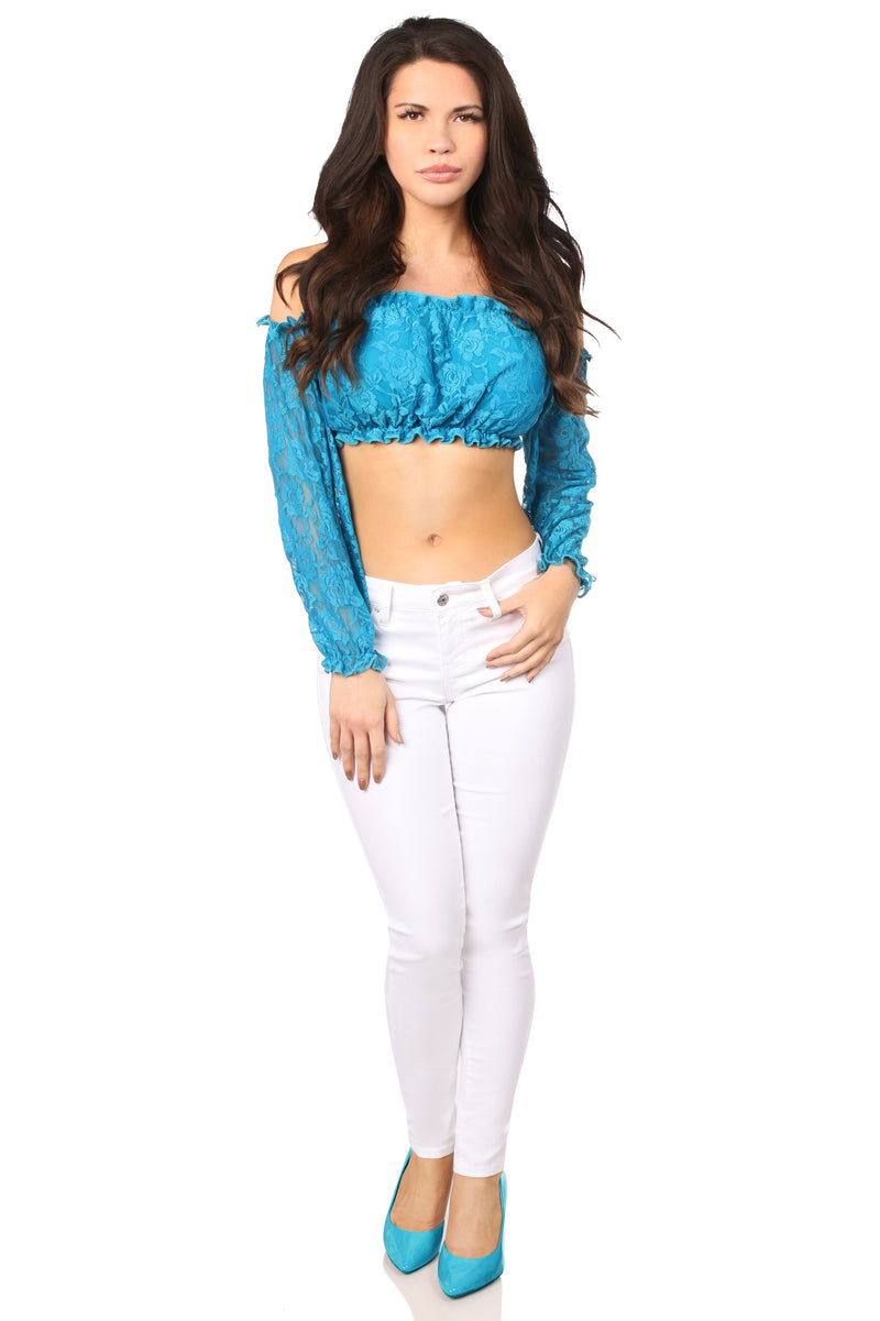 Teal Lined Lace Long Sleeve Peasant Top-Tops-Daisy Corsets-Unspoken Fashion