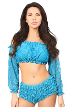 Load image into Gallery viewer, Teal Lined Lace Long Sleeve Peasant Top-Accessories-Daisy Corsets-Unspoken Fashion