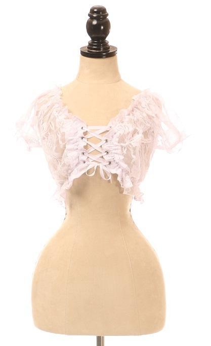 White Sheer Lace-Up Peasant Top-Accessories-Daisy Corsets-Regular-Unspoken Fashion