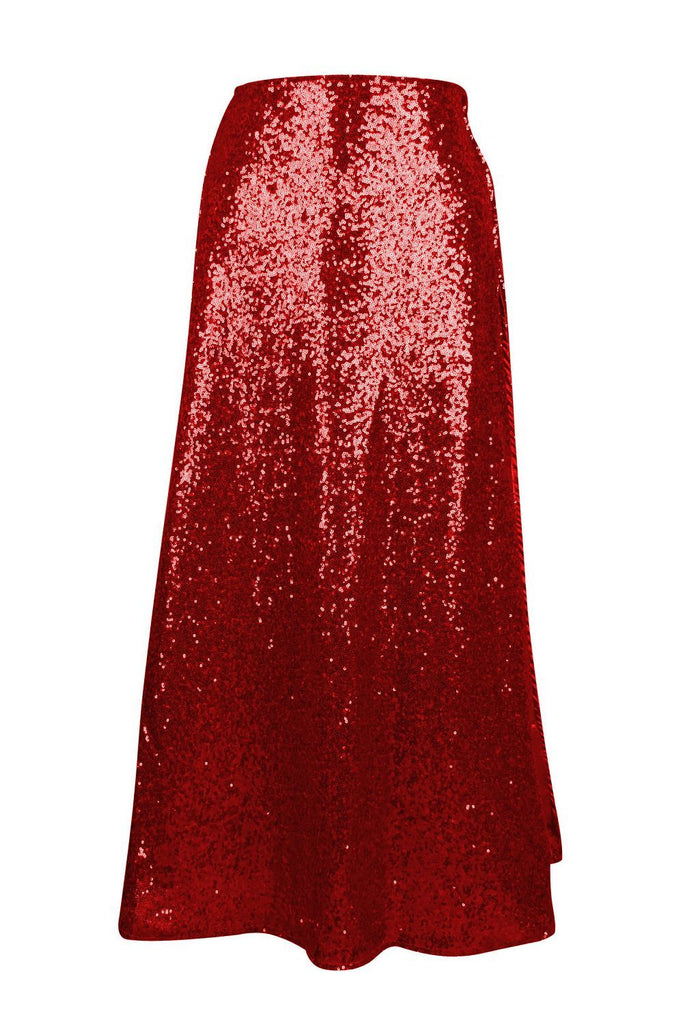 Top Drawer Long Red Sequin Skirt-Accessories-Daisy Corsets-X Large-Unspoken Fashion