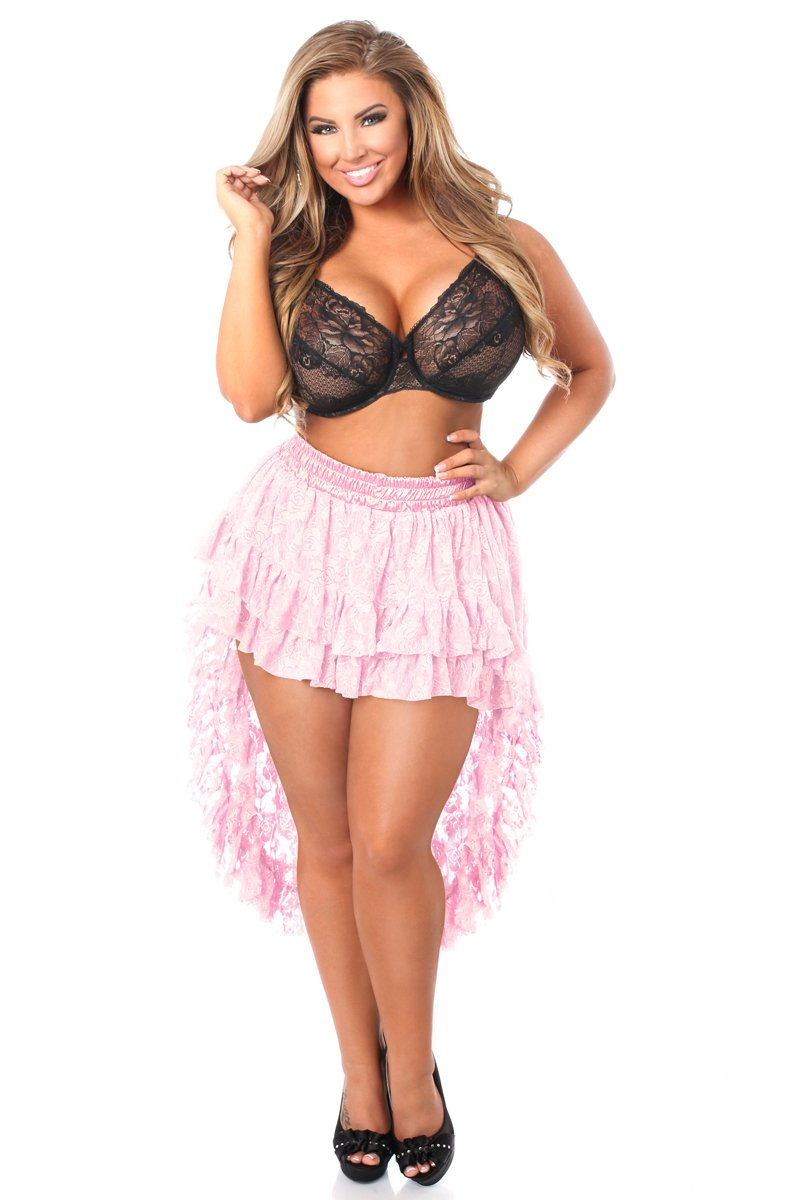 Plus Size Baby Pink Lace High Low Skirt-Accessories-Daisy Corsets-Queen-Unspoken Fashion