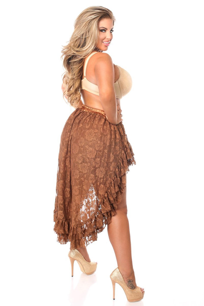 Brown Lace High Low Skirt-Accessories-Daisy Corsets-Unspoken Fashion