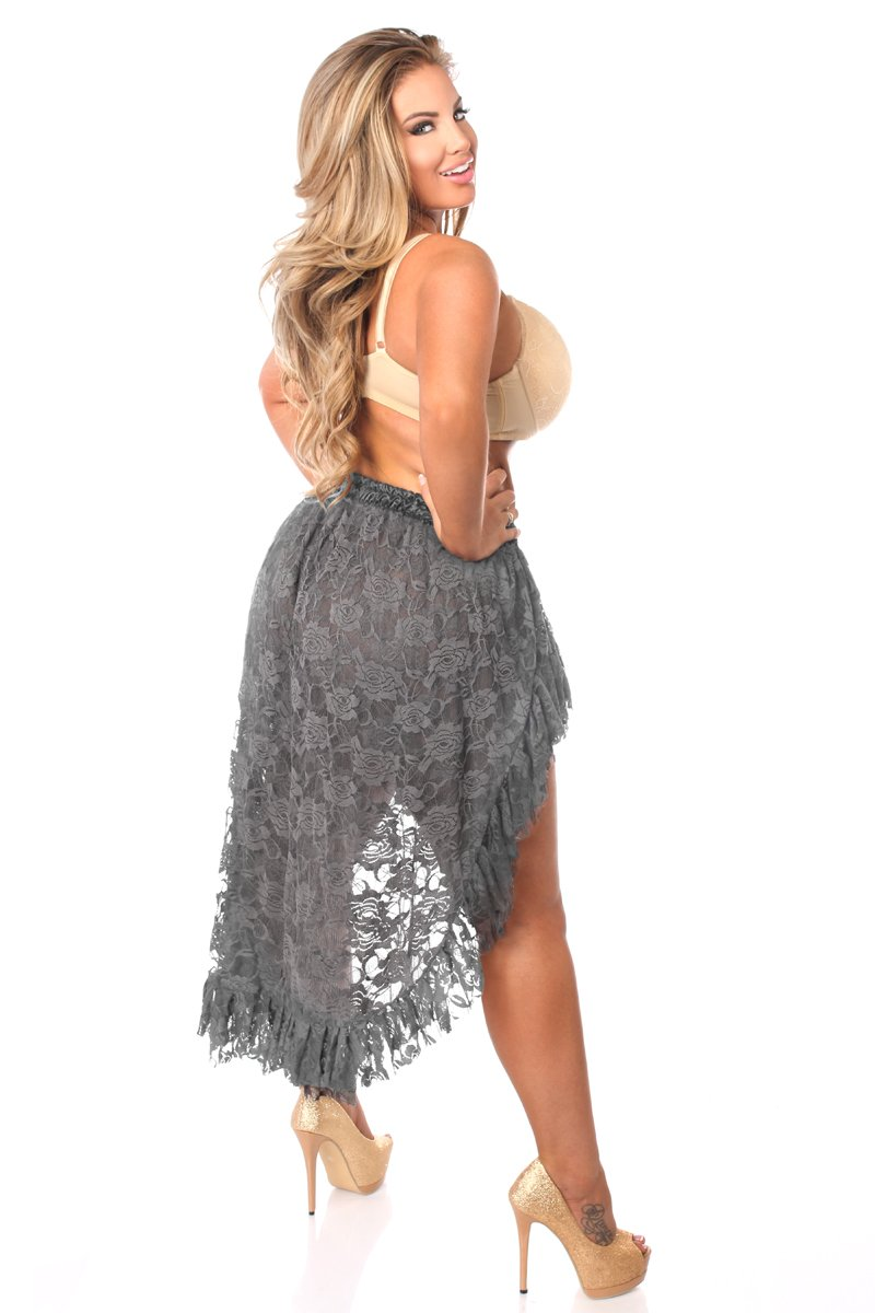 Plus Size Dark Grey Lace High Low Skirt-Accessories-Daisy Corsets-Unspoken Fashion