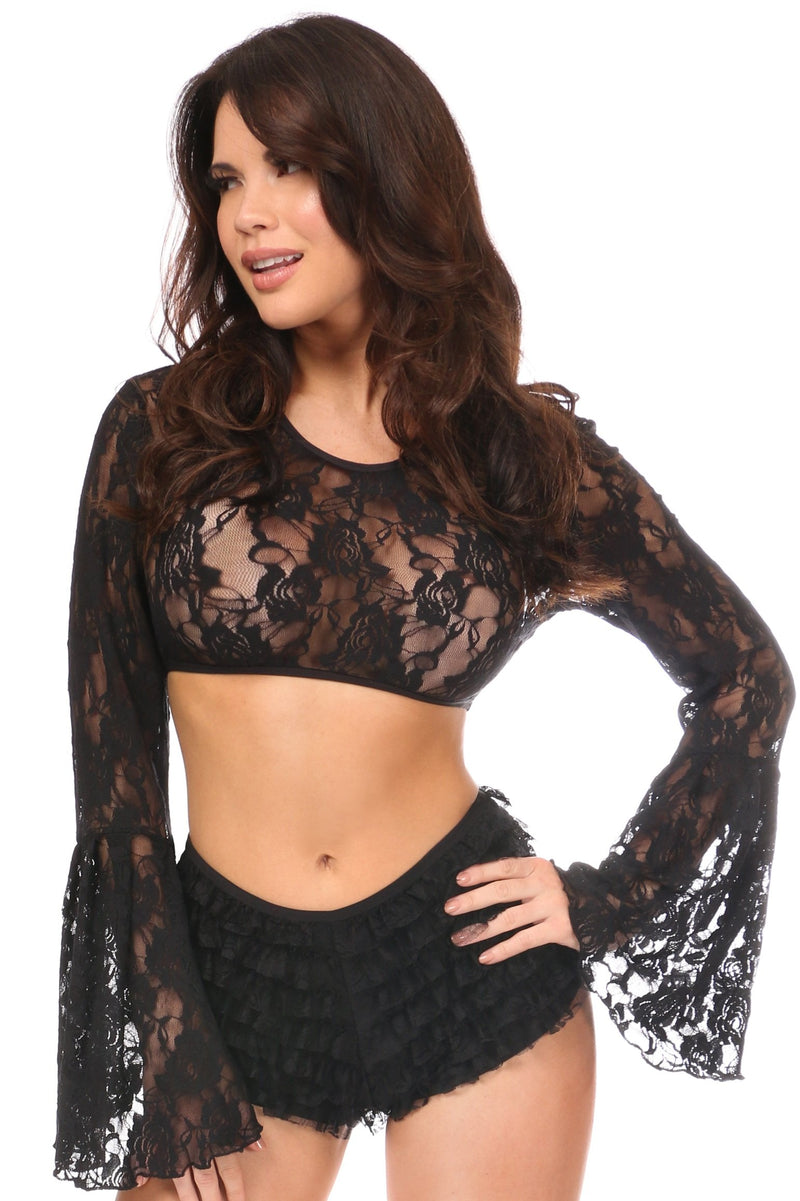 Black Sheer Lace Bell Sleeve Peasant Top-Accessories-Daisy Corsets-Regular-Unspoken Fashion