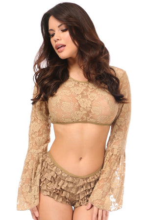 Beige Sheer Lace Bell Sleeve Peasant Top-Accessories-Daisy Corsets-Regular-Unspoken Fashion