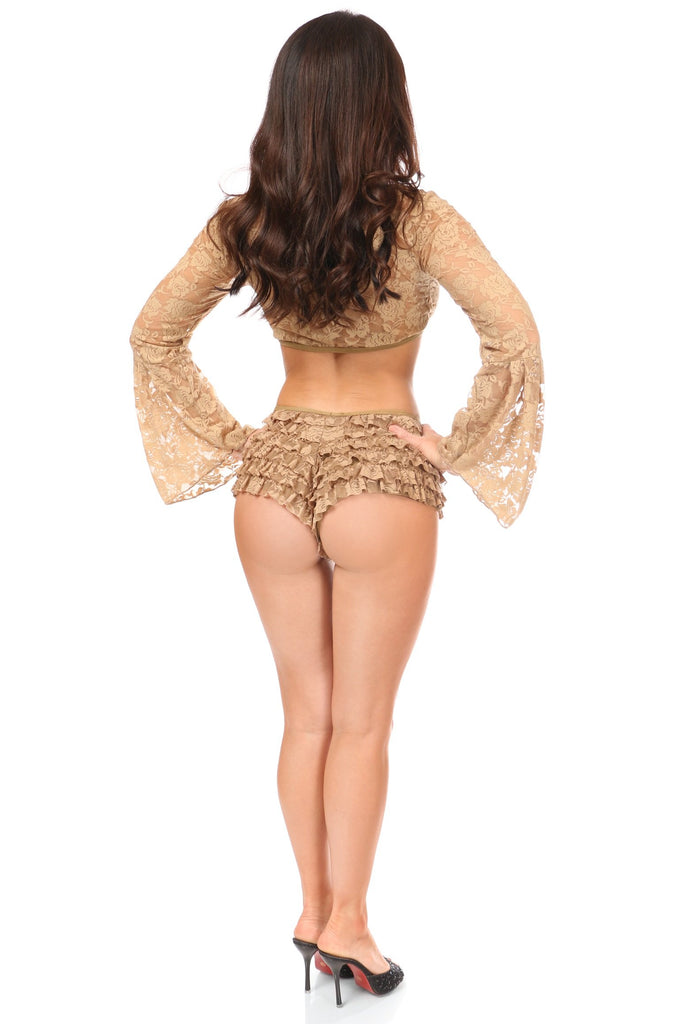 Beige Sheer Lace Bell Sleeve Peasant Top-Accessories-Daisy Corsets-Unspoken Fashion