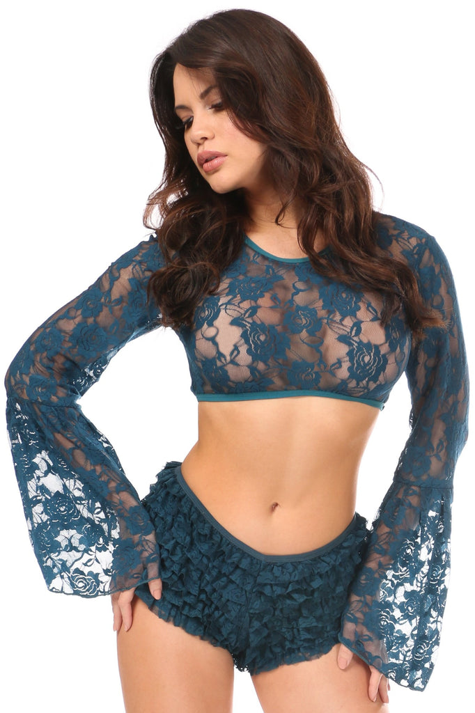 Dark Teal Sheer Lace Bell Sleeve Peasant Top-Accessories-Daisy Corsets-Regular-Unspoken Fashion