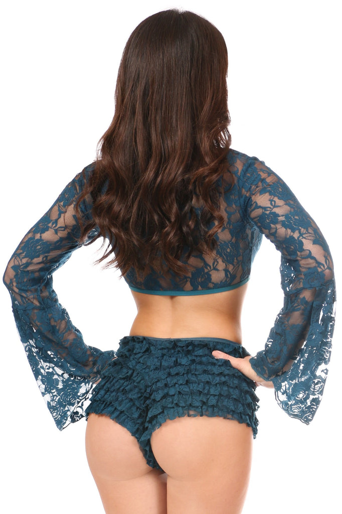 Dark Teal Sheer Lace Bell Sleeve Peasant Top-Accessories-Daisy Corsets-Unspoken Fashion