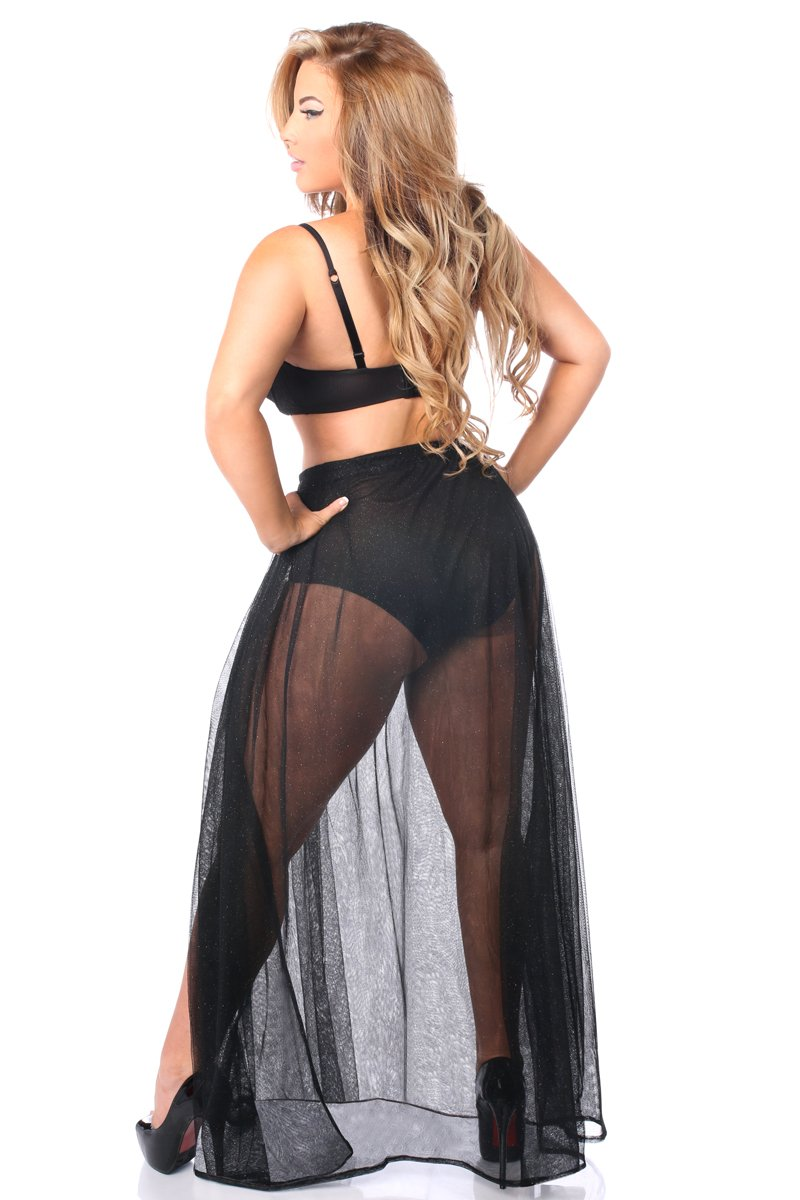 Black Sheer Glitter Skirt-Accessories-Daisy Corsets-Unspoken Fashion